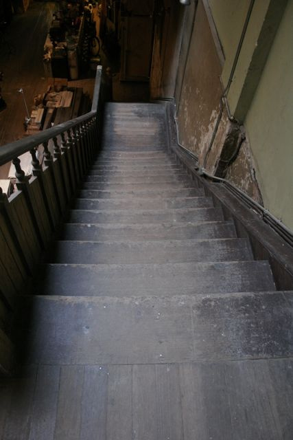 Refinished industrial fir-natural stairs before.