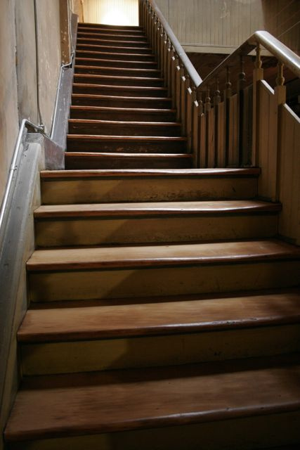 Refinished industrial fir-natural stairs after.