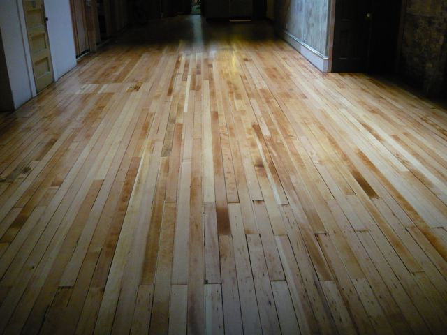Refinished industrial fir floor.